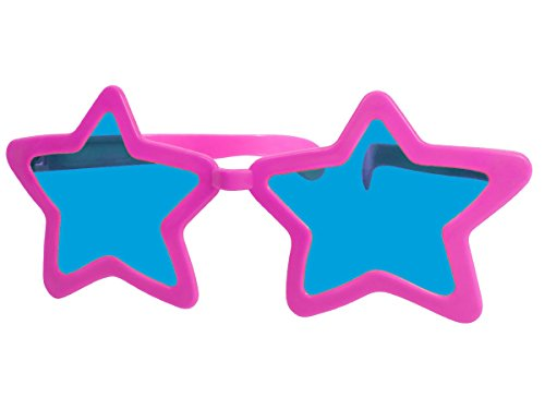 Funbrille Jumbo Partybrille Riesenbrille Spaßbrille Stern Karneval Fasching Party Brille F-050, wählen:pink