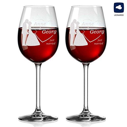 2 Leonardo Weingläser mit Gravur - Geschnek zur Hochzeit Wein-Glas - Motiv Brautpaar