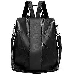 Bolsos Mochilas Casual de Viaje de Oveja de Cuero Suave de Gran Capacidad para Mujeres y Chicas de Personalidad Bolsa Antirrobo Paquete de Diario y Ocio Messenger Bag Backpack