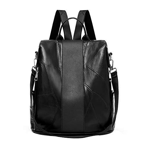 HCFKJ Tasche, Frauen Leder Schaffell Rucksack aus weichem Leder mit großer Kapazität Reisetasche (BK)