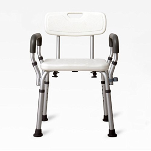 DNSJB Duschstuhl Mit Armen Durch, Verstellbare Tragbare Bad Hocker Badewanne Bank Mit Sicherheitssitz, Abnehmbare Rückenlehne Und Arme, Medizinische Duschstuhl for ältere Menschen, Behinderte Aluminiu -