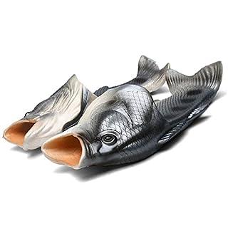 Fisch Hausschuhe Lustige Schuhe Slippers Unisex Anti-Rutsch Strand Besondere Sandalen Dusche Kinder Jungen Mädchen Damen Herren Schwarz 38/39