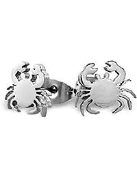 Par de plata de cangrejo Stud earrings- hecho de Acero Inoxidable Quirúrgico–No Pierde el o desgastando