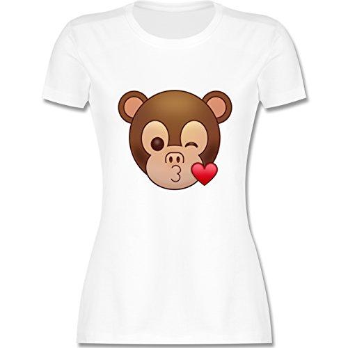 Comic Shirts - Küsschen Äffchen Emoji - tailliertes Premium T-Shirt mit Rundhalsausschnitt für Damen Weiß