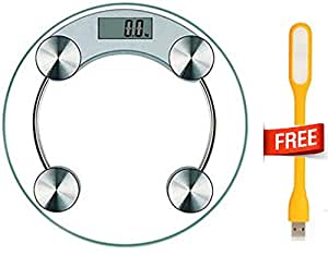 Step-On Technology and LCD Display Round Toughened Glass Digital Weighing Machine with USB LED Light (Up To 180 Kg)