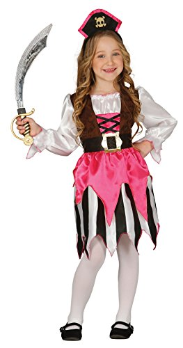 Schicke Piratin aus Karibik - Piraten Kostüm Kinder Mädchen mit Haarreifen- komplettes Piratin Kostüm für Kinder pink-schwarz-weiß - Seeräuberin Kostüm Kinder Mädchen Fasching Karneval (128/134) (Mädchen Schicke Piraten Kostüm)
