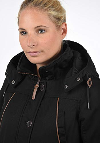 DESIRES Annabelle Damen Übergangsparka Parka Übergangsjacke Lange Jacke mit Kapuze, Größe:XS, Farbe:Black (9000) - 5