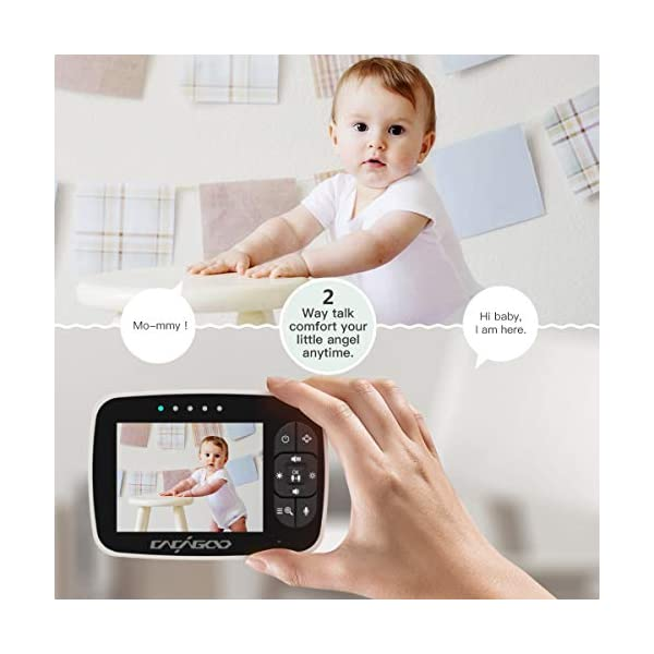 """CACAGOO Baby Monitor Video Baby Monitor with Camera Remote Camera Pan-Tilt-Zoom, 3.5"""" Color LCD Screen, Temperature Display, Lullaby, Two Way Audio, with Wall Mount Kit CACAGOO 【120° Wide-Angle& Smart Alarm Reminder】 CACAGOO baby monitor video baby monitor designed with 350° horizontal and 120° vertical rotation to make up a 360°complete coverage, protect your baby all the time. Humanized 2.4.6H alarm reminder of this video monitor baby camera monitor will help you better plan your baby's daily routine, such as when to change your baby's diaper and so on. 【Greater Peace of Mind, Less Stress】Monitor your baby's sleep with the most advanced 3.5-inch high-resolution, high-quality color TFT LCD display with 2x zoom magnification. The baby monitor video baby monitor features a unique 1 / 6.5"""" color CMOS image sensor to provide clear digital vision and sound to every parent. Enhanced 2.4GHz FHSS technology is more reliable and safe than WIFI. 【Energy-saving VOX(EOC) Mode& Two-way Talking】 With VOX(EOC) mode, the baby monitor video baby monitor automatically turns on the screen when it detects a sound. It automatically turns off the screen in a silent environment to save power. ECO MODE extends the maximum battery life of baby monitors by 120% compared to other baby video monitors without this mode. Built-in mic and speaker and anti-noise technology, offer you a smooth conversation with your baby anytime, anywhere. 3"""