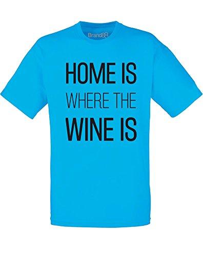 Brand88 - Home is Where the Wine is, Mann Gedruckt T-Shirt Azurblau/Schwarz