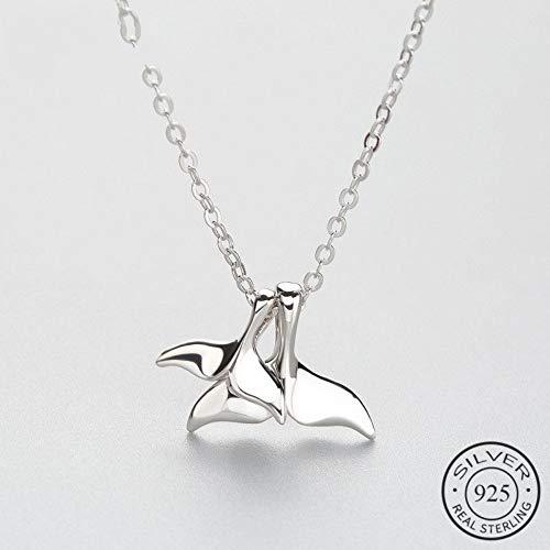 ZUXIANWANG Damen Halskette,925 Sterling Silber Delphin Anhänger Mit Halskette Für Frauen Niedliche Tier Modeschmuck Geburtstag Geschenk (Sterling Silber Niedliche Halskette)