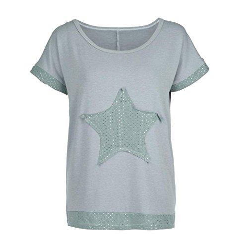 UFACE Frauen Sterne Patch Tops Frauen Plus Größe Kurzarm Sterne O Hals Beiläufige Bluse Shirt Tops T-Shirt(Stern grau,3XL
