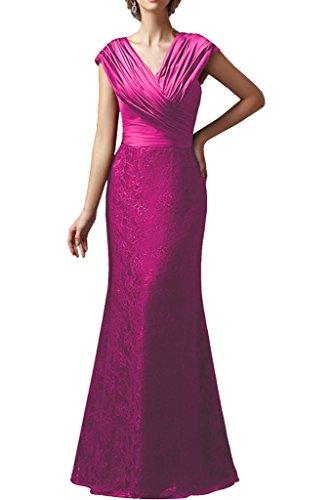 Promgirl House Damen Exklusive Etui Mermaid Spitze Abendkleider Ballkleider Brautmutterkleider Lang Pink