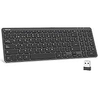 OMOTON Teclado Inalámbrico USB, Teclado Español Ordenador Portátil Windows 7/8/10 con Teclas Numericas (2.4 GHz, inalámbrico, Windows) Negro