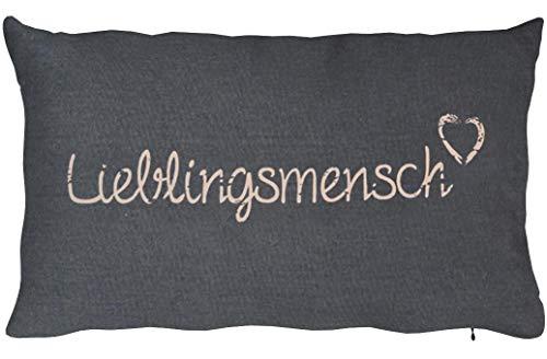 Kamaca LIEBLINGSMENSCH Kissen 30 cm x 50 cm Flauschig gefülltes Kissen mit Reißverschluss Bezug aus 100{a91591955a226b35404d4255678b5df6caf8af13b915676d1ce30ac3f44cc2ea} Baumwolle EIN Hingucker und wertiges Geschenk (GRAU)