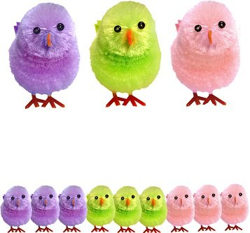 Box of 9 small chenille Easter chicks - mixed colours