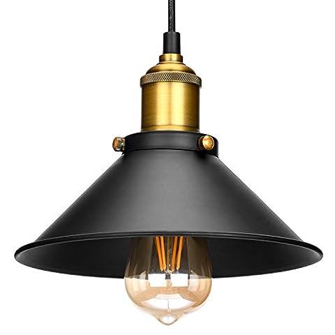 Vintage Pendant Light, Oak Leaf Black Metal Chandelier Lamp Shade