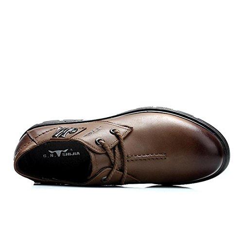 Homme Bas Épais Activité Commerciale Robe Formelle Chaussures En Cuir Ballerines Antidérapantes Chaussures De Travail Euro Taille 38-44 Marron