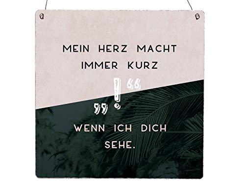 Interluxe XL Holzschild Greenery Türschild Mein Herz Macht Immer KURZ ! Wenn Ich Dich Sehe Palmen Liebe