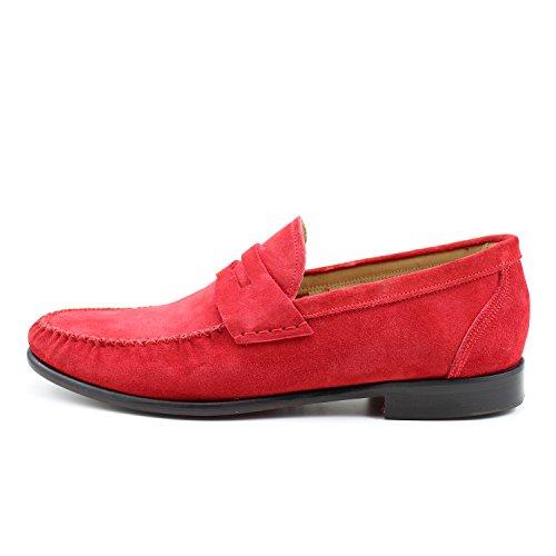 GIORGIO REA Chaussures Homme Rouge Mocassins Mâle Main Italiennes, Cuir, Élégant, Classique, Oxford Classic Shoes