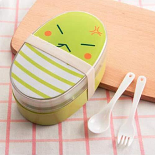 BHIKGMK BrotdoseProtable Cartoon Lunch Box 700ml Kindermikrowelle Bento Boxen Kids Food Container Geschirr Lunchbox Besteck Umweltfreundlich, Grün (Kids Bento-box-container)