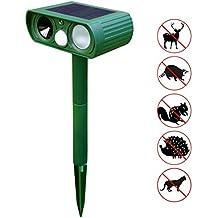 Everteco Repellente Ultrasuoni AnimaleRepellente Energia Solare Per Cani Gatti Scoiattolo Skunk Chipmunk Volpe, CervoRepellente Con Sensore PIR Per L'orto (1 Pezzo)