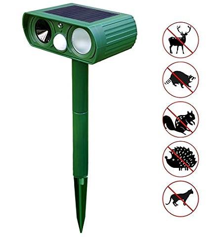 Everteco Solar Ultrasonic Dog Cat Repeller Outdoor Animal Repeller Fox Deer Rodent Pest Repellent with PIR Sensor for Farm Yard Garden (1