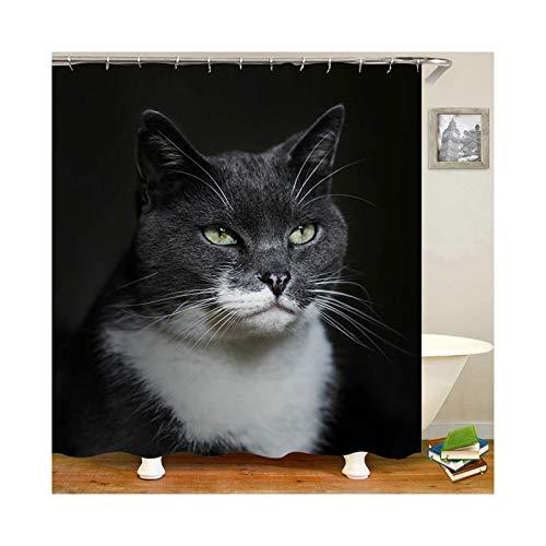 Amody Stoff für Duschvorhang Katzenpet Größe 120x180CM Duschvorhang Antischimmel Antibakteriell Duschvorhang in Waschmaschine Schwarz (Sexy Tribal Kostüm)