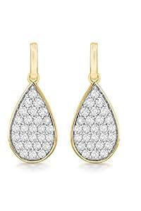 Pavé Privé 9ct Yellow Gold with White Diamonds Drop Earrings