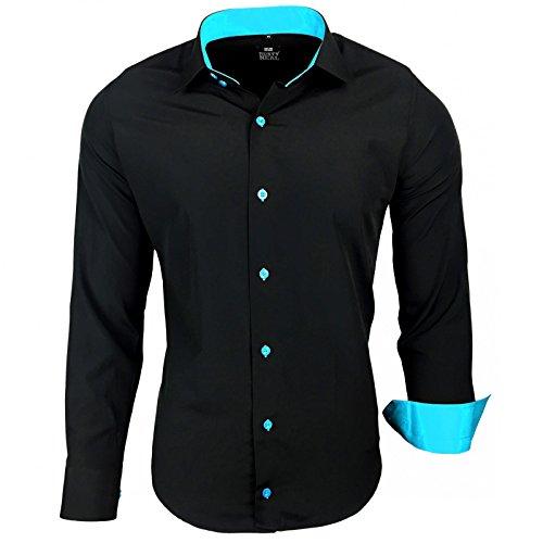 (Avroni Herren Hemd Hemden Business Hochzeit Freizeit Slim Fit S M L XL XXL 44, Größe:XL, Farbe:Schwarz/Türkis)