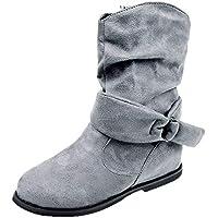 Damen Retro Stiefeletten Herbst Winterstiefel Flache Boots Outdoor Schuhe Mittlere Stiefel Wildleder Schwarz Blau Braun Grau EU 36-41.