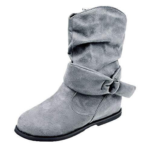 Stiefel Damen Sunnyadrain lässig Vliese Herde Reine Farbe Flache Knöchel Runde Zehe Herbst Winter Warm Schuhe Wedges Stiefeletten für Frauen