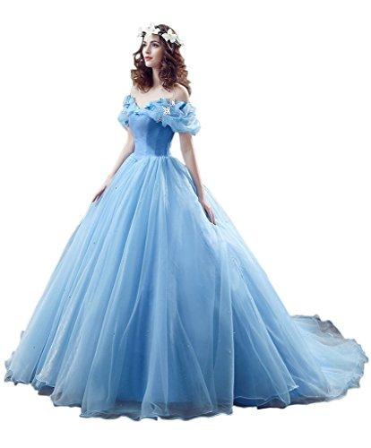Missdressy Damen Traumhaft Oragnza Lang Ballkleid Schnuerung Falte Partykleider Abendkleider Blau