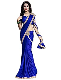 The Fashion Outlets Women's Solid Lycra Saree With Blouse Piece - BJLI-B_RSBH_4_Blue