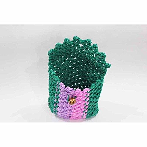 Handloom Cord Small Bag (16 X 16 X 3) - Dark Green-Violet-Pink