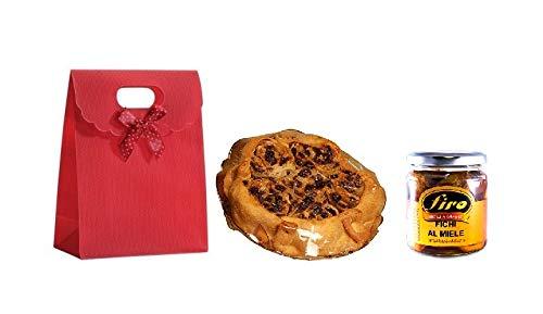 Idea regalo pasqua 2019 con pitta mpigliata dolce tipico calabrese 500 gr, fichi di calabria con miele e rum 250 gr. e busta regalo rossa con fiocco