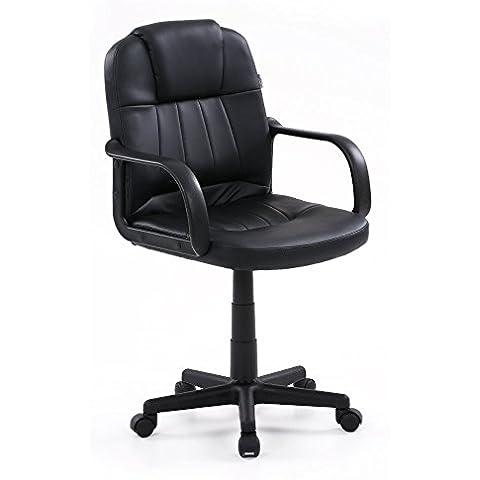 IKAYAA SP-8060NX - Silla de Escritorio de Ordenador de Oficina con Respaldo Ergonómico (Giratorio,Adjustable de Altura,de