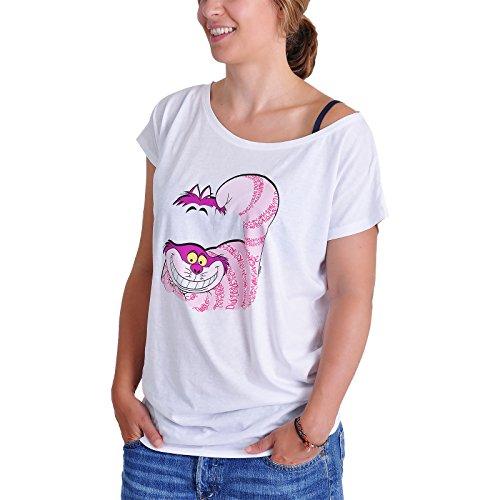 Alice im Wunderland Grinsekatze Girlie Shirt weiß Baumwolle - (Tim Burton Herzkönigin)