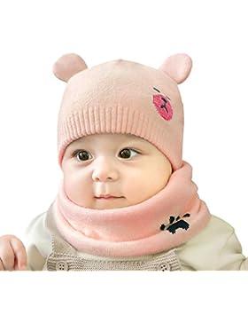 cjixnji Baby Kinder Winter Warm Gestrickter Mütze Schal Sets,Kleinkind Kinder Warme Beanie Mütze Weiche Baumwollkaps...