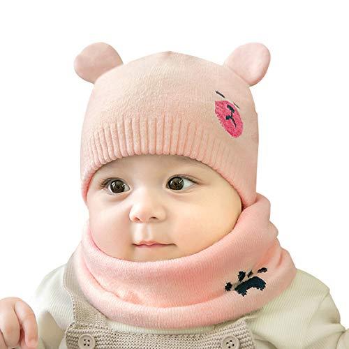 ADESUGATA Baby Kinder Winter Warm Gestrickter Mütze Schal Sets,Kleinkind Kinder Warme Beanie Mütze Weiche Baumwollkaps Schals Hüte für Baby Mädchen Jungen Säuglings Kinder 0-36 Monate (Rosa) -