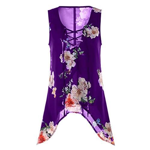 LOPILY Damenmode Sommerkleider Sommer Strandmode Blumenmuste Kleider Strandkleid Bow Bandage Kreuz Partykleid Plus Size Unregelmäßiger ()