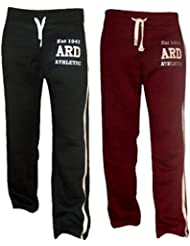 Men's Fleece Joggers Track Suit Bottom Jogging Exercise Fitness Boxing MMA Gym Sweat Fleece Trousers (Maroon And Black)