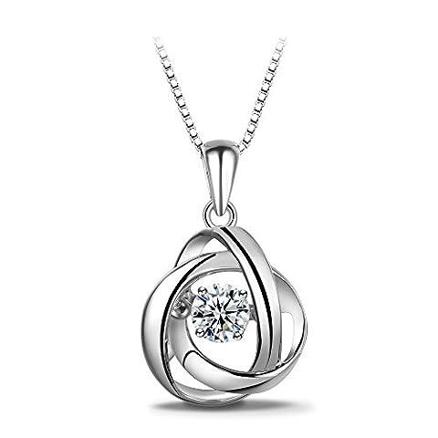 Collier avec pendentif en zircone Swarovski de pierre dansante en argent fin 925 T400 Jewelers, carré 45,7cm