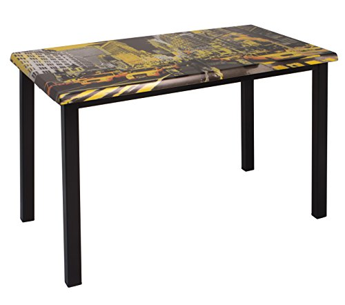 Table Bureau FUN, 4 pieds en aluminium peint, décor New York 110x70