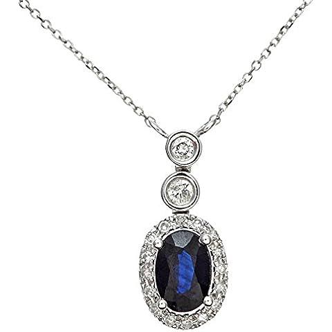 Revoni–Anillo–18ct Oro Blanco 0,60ct Azul Zafiro Y Diamantes Oval Colgante con cadena de 40cm
