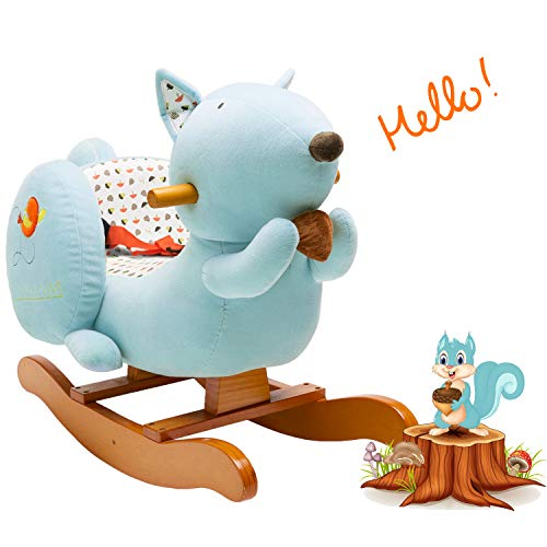 labebe ? 7 Days Only ? Baby Rocking Horse Wooden, Plush Rocking Horse, Blue Squirrel Rocking Horse for Baby 1-3 Years, Child Rocking Horse/Animal Rocker