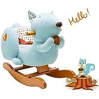 Labebe Baby Schaukelpferd Holz, Schaukelpferd Plüsch, Eichhörnchen Form Schaukelpferd Blau für Baby 1-3 Jahre Alt, Schaukel Baby/Schaukel Pferd/Indoor Schaukel&Garten/Schaukel Blau/Schaukeltier Blau