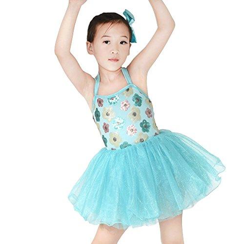 MiDee Schulterfreien Floral Pailletten Leotard Ballett Tutu Röckchen Tanz Kostüm Party Kleid Für Kleine Mädchen (Seeblau, IC)