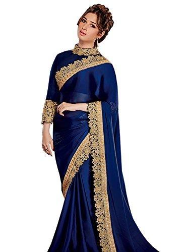 Swadesi Stuff Women's Satin Saree With Blouse Piece (Tamanna1041_Navy Blue)
