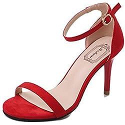 Sandalias Mujer Verano K-Youth 2018 Zapatos Cuña Tacon Alto Sandalias Plataforma Mujer Sandalias De Tacón Alto para Mujer Zapatilla con Punta Abierta Tacón de Aguja Sandalias de Fiesta (38, Rojo)