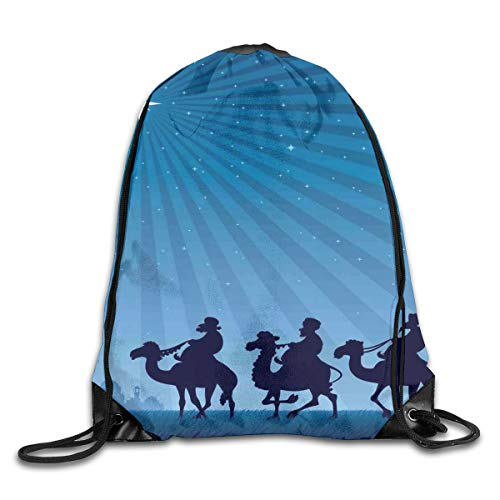 Ejjheadband Blue Duvet Cover Set Twin Size, Religious Scenery Illustration With Moonlight Starry Night People On Camels,Blue And Dark Blue_2Gym Bag -